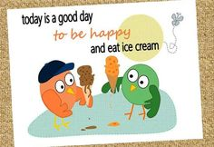 today is a good day to be happy and eat ice cream // be happy // greeting card // cute owl card // by: sari jane's
