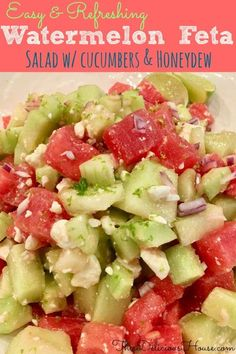 Easy and refreshing watermelon feta salad with cucumbers and honeydew is a perfect side dish for your summer bbq. Made with a delicious honey lime dressing, you'll love how tasty this healthy salad is. Perfect for brunch, barbecues or a quick lunch salad. Easy Salad Recipes, Easy Salads, Summer Salads, Easy Meals, Summer Bbq, Healthy Recipes, Barbecue Recipes, Grilling Recipes, Cooking Recipes
