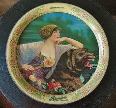 Antique Pre-Prohibition 1913 Rainier Beer Tray by StylishLight