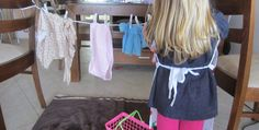 Water play meets Pretend play. Kid sized washing station and clothes line. Help with coordination, fine motor skills, order, process and more. FUN