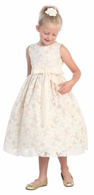 33587a74a60 Ivory Flower Embroidered Lace Dress w Removable Sash