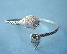hedgehog bracelet with an owl wrap style by stavri on Etsy, $26.00