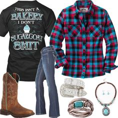 This Isn't A Bakery Outfit - Real Country Ladies. Love the flannel!