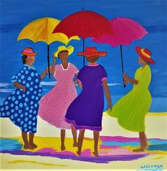 Colorful meeting on the beach - Colorful meeting on the beach Informations About Colorful meeting on the beach Pin You can easily us - Umbrella Art, Caribbean Art, Arte Popular, Naive Art, Whimsical Art, Beach Art, African Art, Art Lessons, Painting & Drawing