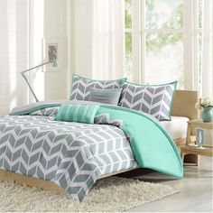 Darcy Chevron Bedding Set in Teal available in Twin, Full/Queen, King