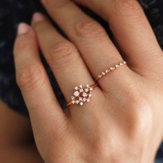 Morganite Engagement Ring Set Rose and White Gold Morganite Rings Floral Engagement Ring with Matching Diamond Band - Fine Jewelry Ideas Rose Gold Diamond Ring, Diamond Cluster Ring, Diamond Jewelry, Gold Jewelry, Jewelry Rings, Fine Jewelry, Gold Bracelets, Jewelry Ideas, Gold Earrings