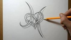 Letter H with a Heart Combined Tattoo Design by JSHarts