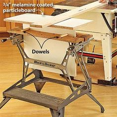 GOOD IDEA FOR A TABLE SAW EXTENSION. USE TWO ,,,THROW A PIECE OF PLYWOOD ON TOP TO MATCH HEIGHT OF TABLESAW SURFACE