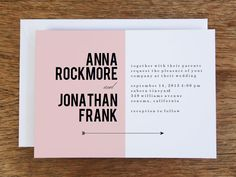 A modern wedding invitation featuring a pink block and black arrow. Super easy and fast to make!
