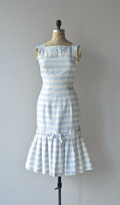 Deauville dress vintage 1950s dress striped cotton by DearGolden