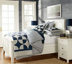 Thatcher Ticking Stripe Duvet Cover & Sham | Pottery Barn