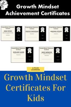 These growth mindset achievement certificates for kids are a great way to recognize your students throughout the year or end of the year. Classroom Organization, Classroom Management, List Of Awards, Student Awards, School Resources, Classroom Resources, Go Getter, Positive Mindset, My Teacher
