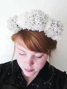 Ivory Pom Pom Crown