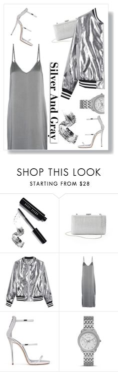 """Silver&Gray"" by shahystyle ❤ liked on Polyvore featuring Bobbi Brown Cosmetics, La Regale, Sans Souci, Equipment, Giuseppe Zanotti, White Label and FOSSIL"