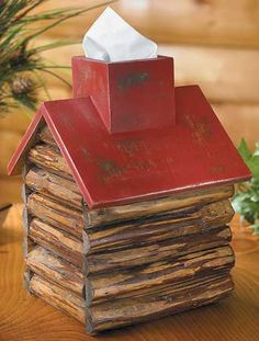 4012751601:Red Roof Log Cabin Tissue Box