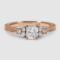 14K Rose Gold Adorned Trio Ring // Set with a 0.70 Carat, Cushion, Ideal Cut, E Color, VS1 Clarity Diamond #BrilliantEarth