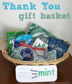Nice thank you gifts mint themed gift basket for teacher male teachers Thank You Gift Baskets, Teacher Gift Baskets, Themed Gift Baskets, Thank You Gifts, Food Gifts, Craft Gifts, Diy Gifts, Teacher Appreciation Gifts, Teacher Gifts