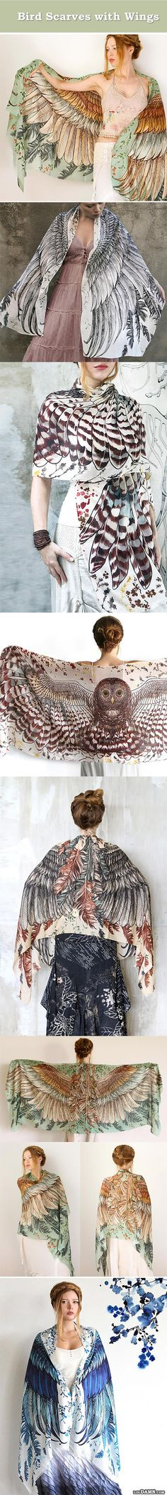 Bird scarves with wings, very old concept beautifully done. scarves for women.