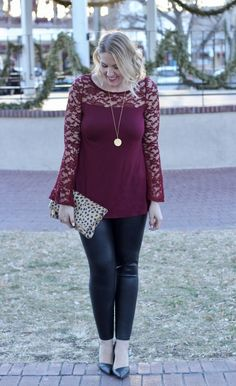 Lace bell sleeve Pink Blush top with faux leather leggings and a leopard foldover clutch; dressed up holiday style; The Weekly Style Edit fashion link up