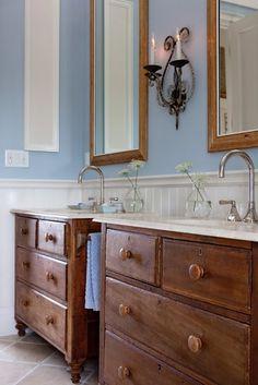 Re - purposing dressers as sinks.