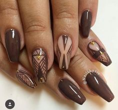 Brown and nude coffin nails