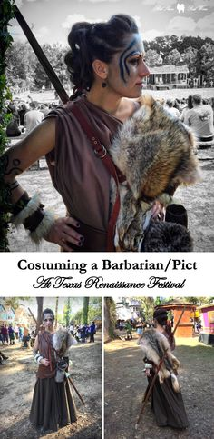Costuming a Barbarian at Texas Renaissance Festival: a look back at my Pict woman warrior (pre-Scotland) costume for Barbarian invasion weekend at Texas Renaissance Festival. Costume and woad face paint inspired by Etain from Centurion, Guinevere from King Arthur, and a little Floki from Vikings (made by me).