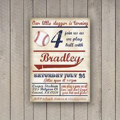 Baseball Birthday Invitation Party Invite Vintage DIGITAL YOU PRINT