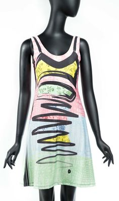 Stunning piece of art 2 in 1 dress in pastel colours (blue, pink, yellow, green and black) artistic print. Volt Design, 21st Dresses, Cool Style, Ready To Wear, Canada, Clothes For Women, Tank Tops, Stylish, Womens Fashion