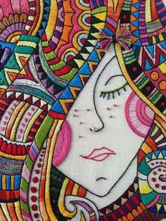 Discover thousands of images about Love this embroidery- Right down to the nose ring! Great shop with fun/bright colored designs.I Dream of Colors Hand Embroidered Art by CapriciousArts on Etsy ♒ Enchanting Embroidery ♒ embroidered hippie portrait - Embroidery Applique, Cross Stitch Embroidery, Embroidery Patterns, Machine Embroidery, Embroidery Works, Fabric Art, Fiber Art, Needlework, Crochet
