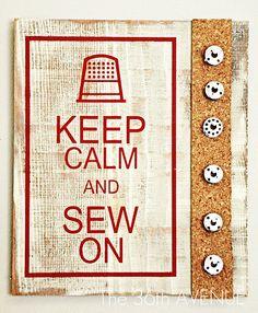Cute sewing corner. Like this sign/bobbin holder.