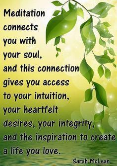 Meditation connects you with your soul and this connection gives you access to your intuition, your heartfelt desires, your integrity and the inspiration to create a life you love. Mind Body Spirit, Mind Body Soul, Spiritual Wisdom, Spiritual Awakening, Buddha, February Baby, September, Your Soul, Mindfulness Meditation