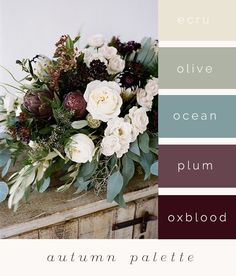 just a little color palette idea to get the ball rolling. Do we have a color palette or a season? Colour Schemes, Wedding Color Schemes, Color Combos, Wedding Colour Palettes, Wedding Bouquets, Wedding Flowers, Boho Flowers, Fall Flowers, Wedding Dresses