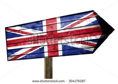 United Kingdom on wooden table sign isolated on white