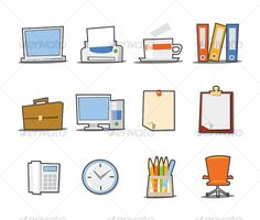 Universal Icons Fresh Collection  Set 2 — JPG Image #ring binder #laptop • Available here → https://graphicriver.net/item/universal-icons-fresh-collection-set-2/69694?ref=pxcr