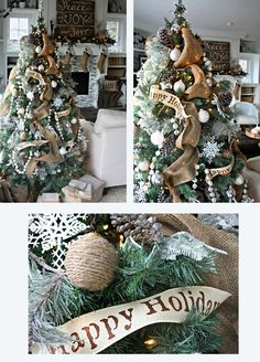 burlap Christmas tree Pearl strands: make from small foam balls painted with pearlescent paint, thick cream ribbon for painting the works on it.