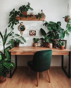 Home Office Design, Home Office Decor, House Design, Office Desk, Green Home Offices, Interior Office, Green Home Decor, Home Design Decor, Living Room Decor