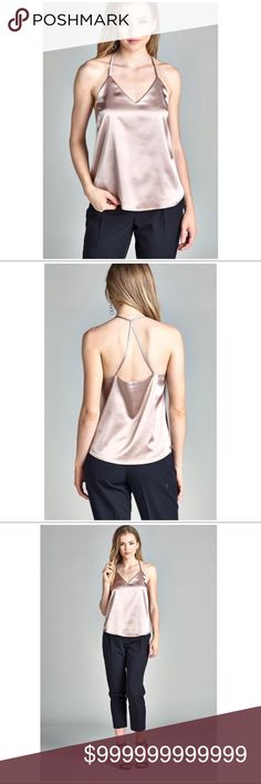 Beige Satin Cami Beige Satin Cami. Silky satin sleeveless Cami in a loose fit. 94% Polyester/4% Spandex Tops Camisoles