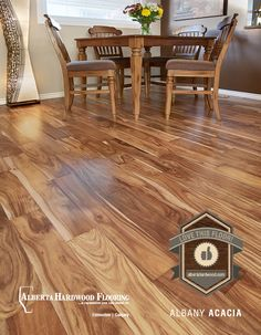 Albany Acacia hardwood flooring. A great contrast to Natural Hickory Cabinets!!!