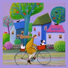 View Iwona Lifsches's Artwork on Saatchi Art. Find art for sale at great prices from artists including Paintings, Photography, Sculpture, and Prints by Top Emerging Artists like Iwona Lifsches. Cycle Painting, Art Fantaisiste, Art Populaire, Ouvrages D'art, Bicycle Art, Art Et Illustration, Cycling Art, Whimsical Art, Watercolor Art