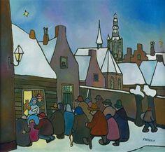 Toon Tieland. Kerstverhaal Awsome Pictures, Dutch Artists, Naive Art, Folk, Drawings, Winter, Designers, Paintings, Nice