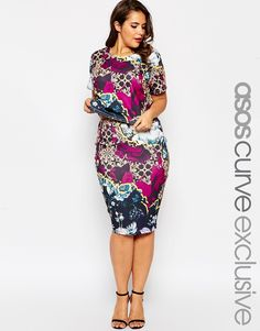 Image 1 of ASOS CURVE Co-Ord Pencil Skirt In Blossom Print