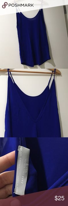 Zara Tank Royal blue Zara tank. It can be dressed down or up. Material is great, very lightweight. Never worn perfect condition Zara Tops Tank Tops