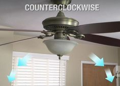 Lower Bills With Low-Cost Winter Fixes - I can never remember this one:  One easy way to warm up a room is to reverse your ceiling fans. In the summer you want your fan to run counterclockwise so it blows down. However, in the colder months, you should reverse the direction of the fan to pull cool air toward the ceiling. Simply flip the toggle switch underneath the fan and put it on a low setting. You should feel the difference in no time.