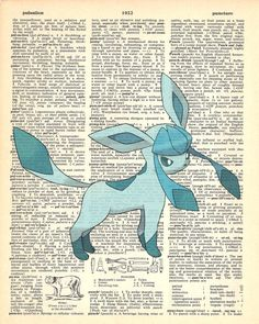 Glaceon Pokemon Dictionary Art Print by MollyMuffinsPrints on Etsy