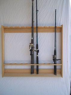 Wallmount Fishing Rod & Pole Rack Unfinished by Oakwoodgunracks Fishing Rod Case, Fishing Pole Storage, Fishing Pole Holder, Pole Holders, Fishing Poles, Fly Fishing, Fishing Bobbers, Fishing Tackle, Bikini Fishing