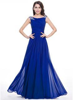 A-Line/Princess Scoop Neck Floor-Length Ruffle Beading Sequins Zipper Up Cap Straps Sleeveless No Royal Blue Spring Summer Fall General Plus Chiffon Evening Dress
