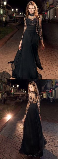 stylish black chiffon long prom/evening dress with lace #prom #promdress #promdresses #eveningdress #eveningdresses