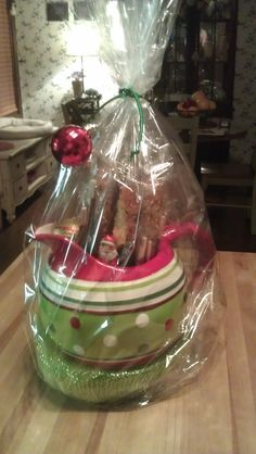Christmas Pitcher filled w/Biscotti Cookies