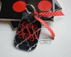 Mason jar Keychain / Lilly Pulitzer print keychain / Keychain with