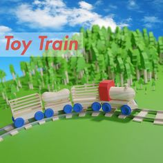 model Wooden Toy Train cargo and track train trains, formats include BLEND, ready for animation and other projects
